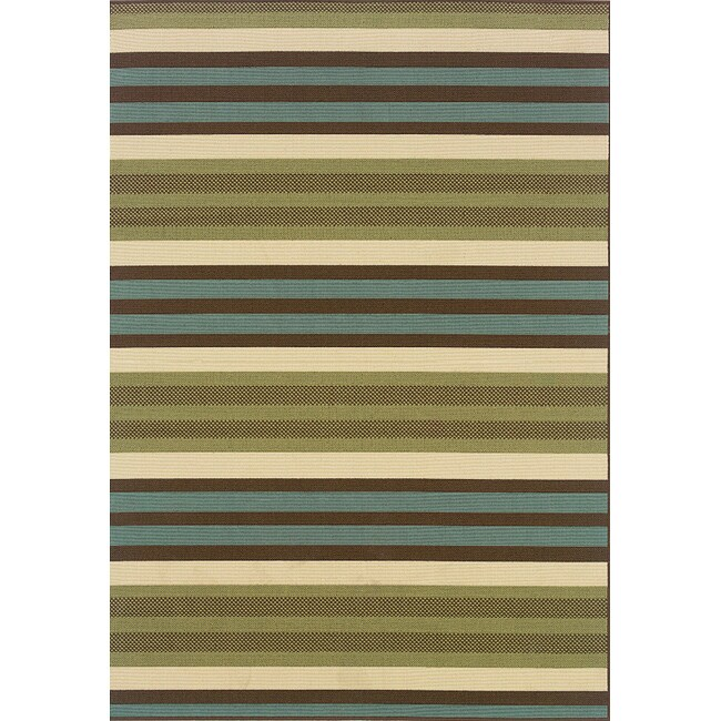 Green/ Blue Outdoor Area Rug (7'10 x 10'10)