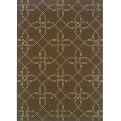 Brown/Green Geometric Outdoor Area Rug (7'10 x 10')