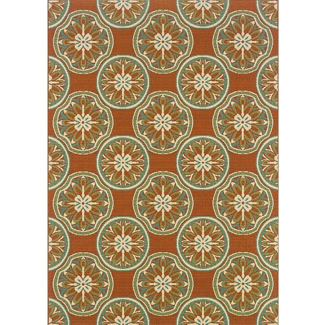 Orange Ivory Outdoor Area Rug 7 10 x 10 10