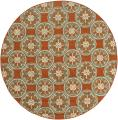 Orange/ Ivory Outdoor Area Rug (7'10 Round)