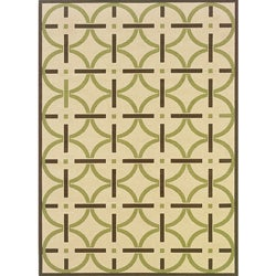 Ivory/Brown Outdoor Polypropylene Area Rug (7'10 x 10')