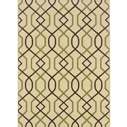 Ivory/Brown Outdoor Geometric Area Rug (7'10 x 10'10)