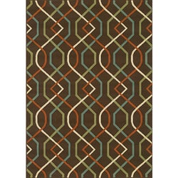 Brown/Ivory Outdoor Polypropylene Area Rug (7'10 x 10'10)