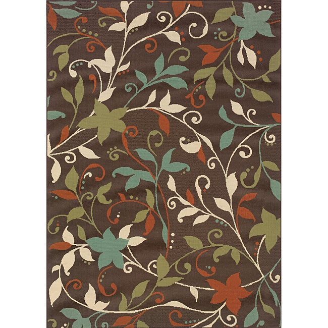 Brown/Green Floral Outdoor Area Rug (7'10 x 10'10)
