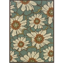 Blue/ Brown Outdoor Area Rug (3'7 x 5'6)