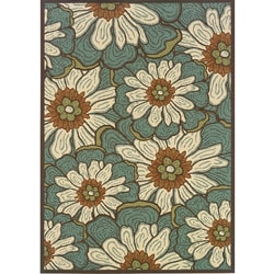 "Blue/Brown Floral Outdoor Area Rug (6'7"" x 9'6"")"