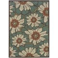 """Blue/Brown Floral Outdoor Area Rug (6'7"""" x 9'6"""")"""