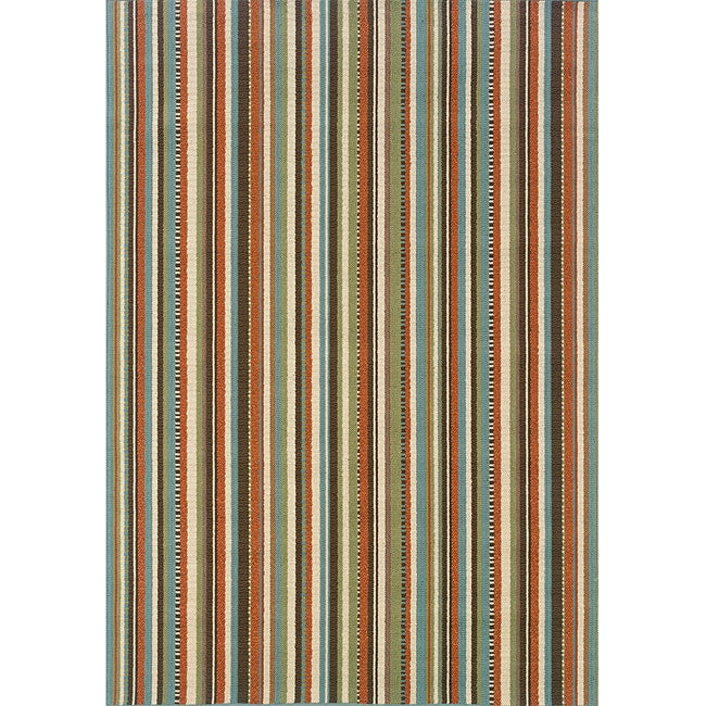 Blue Ivory Striped Outdoor Area Rug 2 5 x 4 5