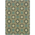 Blue/ Ivory Geometric Outdoor Area Rug (3'7 x 5'6)