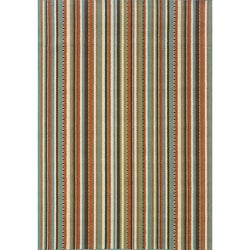 Stripe Blue/Ivory Outdoor Area Rug (5'3 x 7'6)