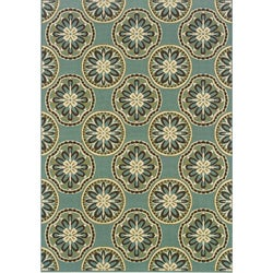 Blue/ Ivory Outdoor Area Rug (5'3 x 7'6)