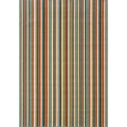 "Blue/Ivory Striped Outdoor Area Rug (6'7"" x 9'6"")"