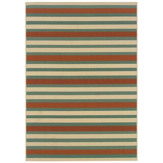 Blue/ Orange Outdoor Area Rug (3'7 x 5'6)
