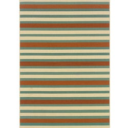Blue/ Orange Outdoor Area Rug (5'3 x 7'6)