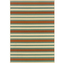 Blue/ Orange Outdoor Area Rug (2'5 x 4'5)