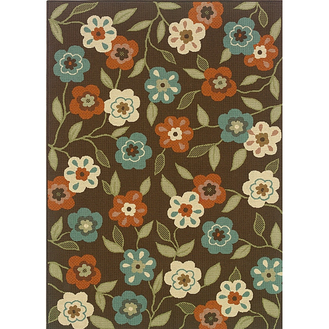 """Brown/Ivory Outdoor Floral Area Rug (6'7"""" x 9'6"""")"""