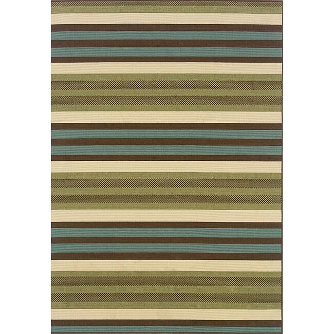 Green/Blue Outdoor Area Rug (5'3 x 7'6)