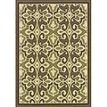 Green/Ivory Outdoor Abstract Area Rug (5'3 x 7'6)