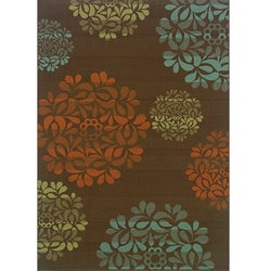 Brown/Blue Outdoor Polypropylene Area Rug (5'3 x 7'6)
