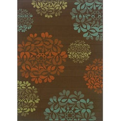 "Brown/Blue Floral-Pattern Outdoor Area Rug (5'7"" x 9'6"")"