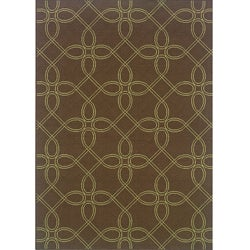 "Brown/Green Outdoor Polypropylene Area Rug (5'3"" x 7'6"")"