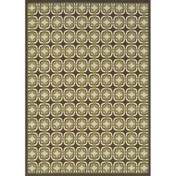 Brown/Green Outdoor Polypropylene Area Rug (6'7 x 9'6)