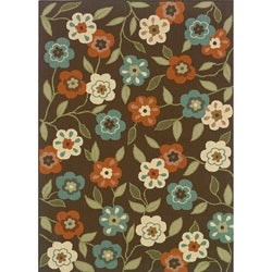 "Brown/Ivory Floral-Print Outdoor Area Rug (2'5"" x 4'5"")"