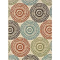 "Ivory/Blue Outdoor Geometric Area Rug (2'5"" x 4'5"")"