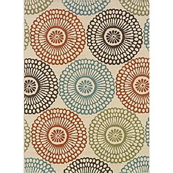 Ivory/Blue Outdoor Geometric Area Rug (2'5