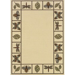 Ivory/Brown Bordered Outdoor Area Rug (3'7 x 5'6)