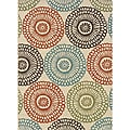 Ivory/Red Outdoor Polypropylene Area Rug (5'3