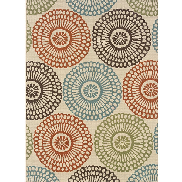 """Ivory/Red Outdoor Area Rug (5'3"""" x 7'6"""")"""