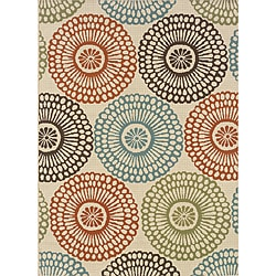 Ivory/Red Outdoor Geometric Area Rug (6'7
