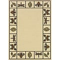 Ivory/Brown Outdoor Polypropylene Area Rug (5'3 x 7'6)