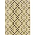 Ivory/Brown Geometric Outdoor Area Rug (3'7 x 5'6)