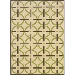 Ivory/Brown Outdoor Area Rug (5'3 x 7'6)