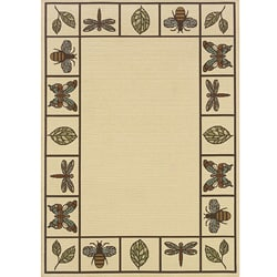 "Ivory/Brown Border Outdoor Area Rug (6'7"" x 9'6"")"
