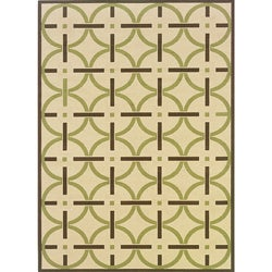 "Geometric Ivory/Brown Outdoor Area Rug (6'7"" x 9'6"")"