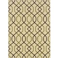 "Ivory/Brown Outdoor Polypropylene Area Rug (6'7"" x 9'6"")"