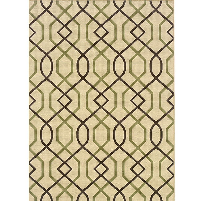"""Ivory/Brown Outdoor Area Rug (6'7"""" x 9'6"""")"""