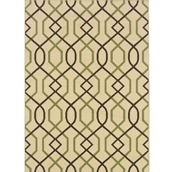"Ivory/Brown Outdoor Area Rug (6'7"" x 9'6"")"