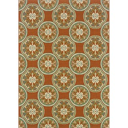 Orange/ Ivory Outdoor Area Rug (3'7 x 5'6)