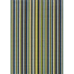Blue/Brown Contemporary Striped Outdoor Area Rug (5'3 x 7'6)