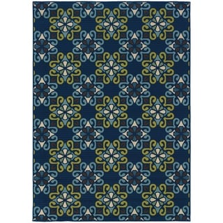 Blue/ Blue Outdoor Area Rug (6'7 x 9'6)