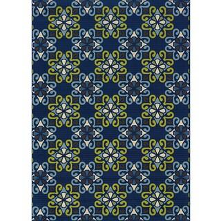 Blue/ Blue Outdoor Area Rug (7'10 x 10'10)
