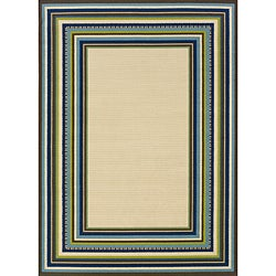 "Ivory/Blue Outdoor Polypropylene Area Rug (5'3"" x 7'6"")"