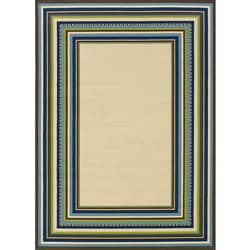 Ivory/ Blue Outdoor Area Rug (6'7 x 9'6)