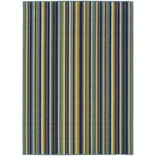 "Blue/Brown Striped Outdoor Area Rug (6'7"" x 9'6"")"