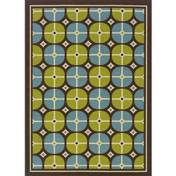 Brown/Blue Geometric Outdoor Area Rug (7'10 x 10')