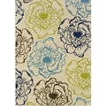Ivory/ Green Outdoor Area Rug (3'10 x 5'6)
